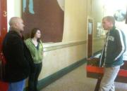 Kevin and Bryan talking to a lady from The Shelter