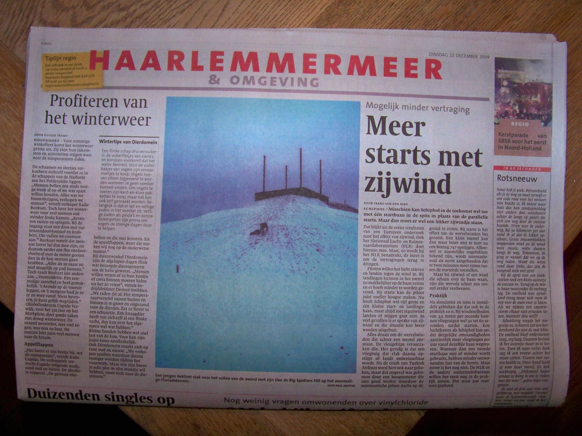 Mijn Foto In Haarlems Dagblad Besneeuwde Heuvel In De Polder